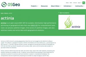 Homepage von actinia auf der OSGeo Webpage