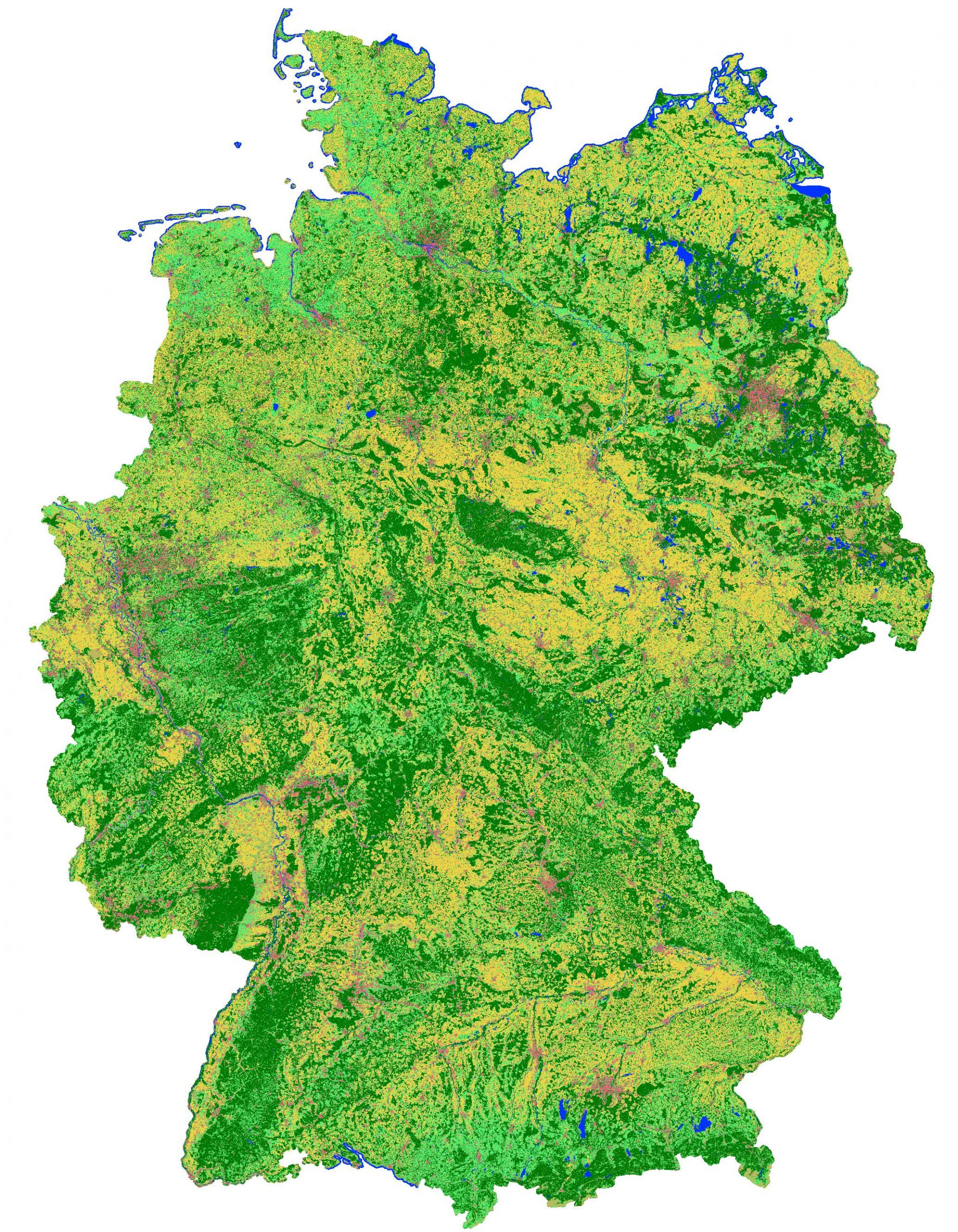 Map of Germany of the land cover classification results for 2020