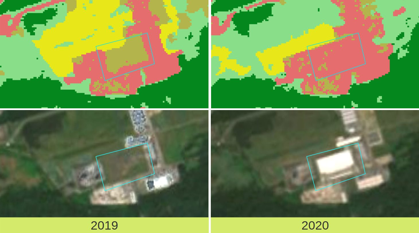 Veränderungsdetektion Bebaute Fläche 2019-2020: Zoom auf Castrop-Rauxel